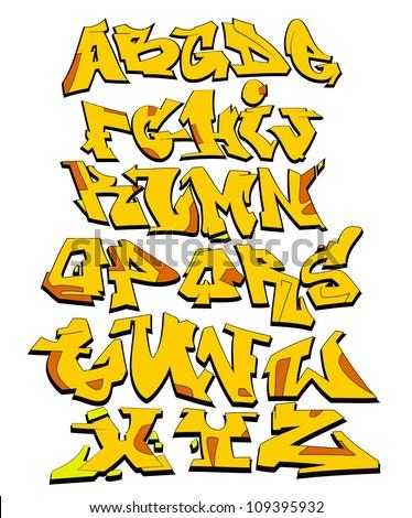 Graffiti Font Alphabet Urban Art Design - stock vector