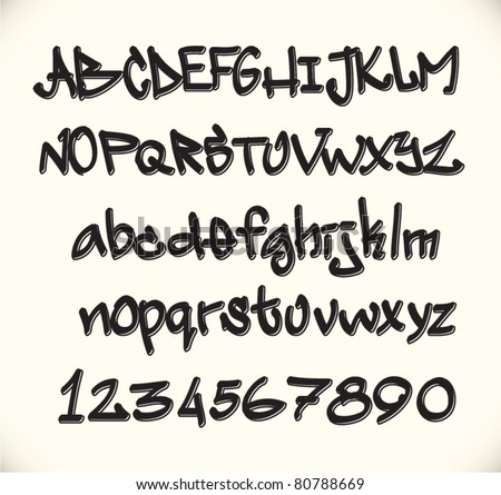graffiti font alphabet, urban art of abc - stock vector