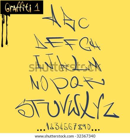 Graffiti font hip hop alphabet - stock vector