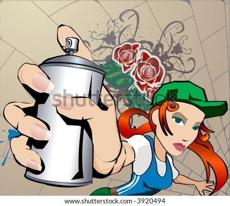 Graffiti Girl, all blends and gradients no meshes - stock vector