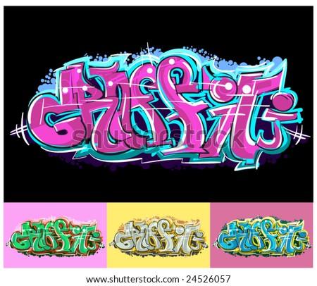 Graffiti hip hop text - stock vector