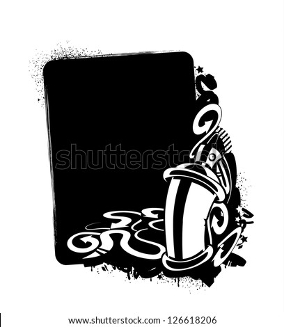 Graffiti image of can with arrows. Vertical banner. Monochrome sketch. Vector illustration. - stock vector