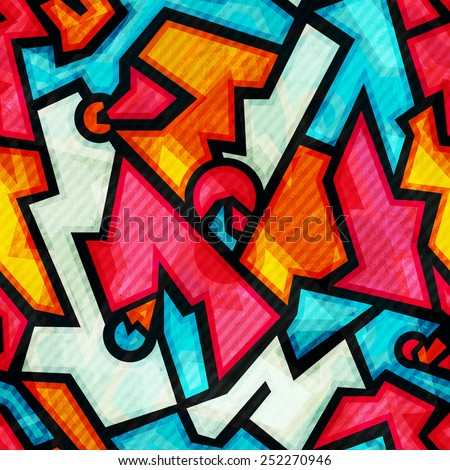 graffiti seamless pattern with grunge effect - stock vector