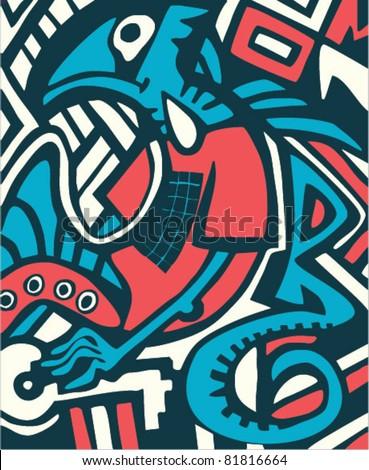 graffiti sketch with dragon - stock vector