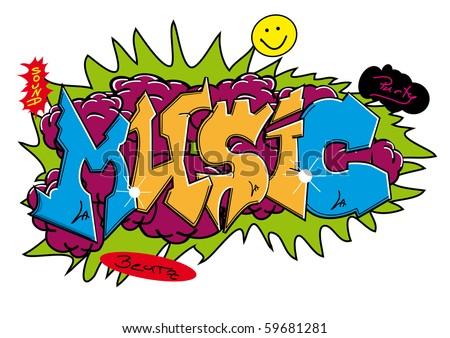 "Graffiti street art design with word ""MUSIC"". - stock vector"
