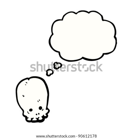 graffiti style skull with thought bubble