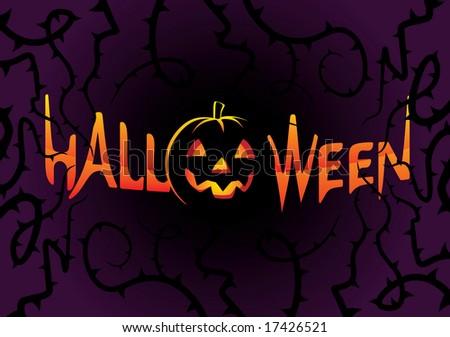 Graffiti Styled Inscription Halloween on dark background - stock vector