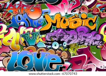 Graffiti urban wall background - stock vector