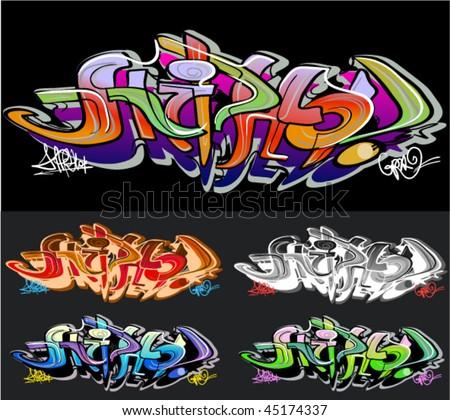 graffiti vector background - stock vector