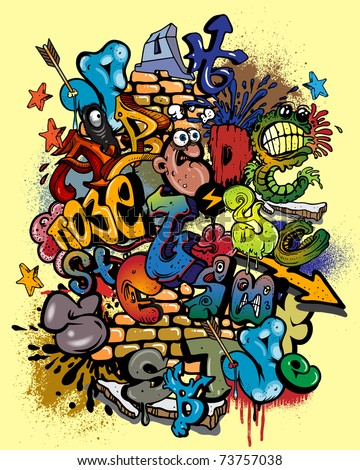 Graffiti vector elements - stock vector