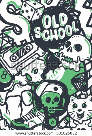 Graffiti vector stuff background sticker poster colorful doodle pattern in green black and white color