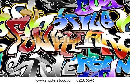 graffiti wall - stock vector