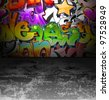 Graffiti wall background. Urban art cool grunge design - stock vector