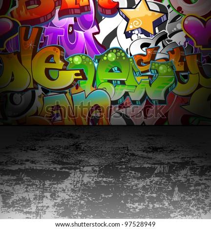 Graffiti wall background. Urban art cool grunge design - stock vector