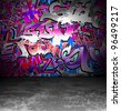 Graffiti wall grunge urban background design, vector street art - stock photo