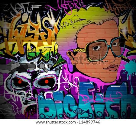 Graffiti wall urban art background. Grunge hip hop artistic design - stock vector