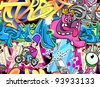 Graffiti wall urban art seamless background - stock vector