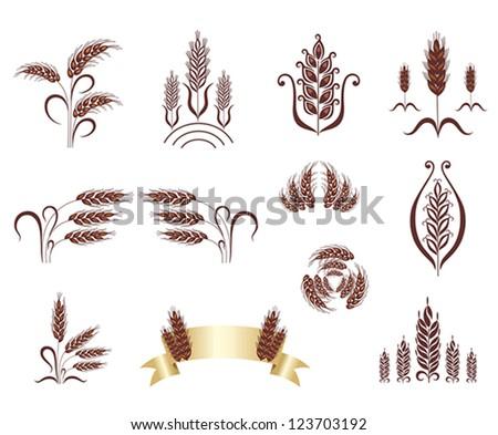 Grain ears. Design elements. - stock vector