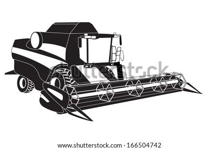 Grain harvester combine. Vector illustration. - stock vector