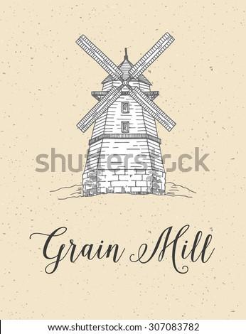 Grain Mill, wooden - stock vector