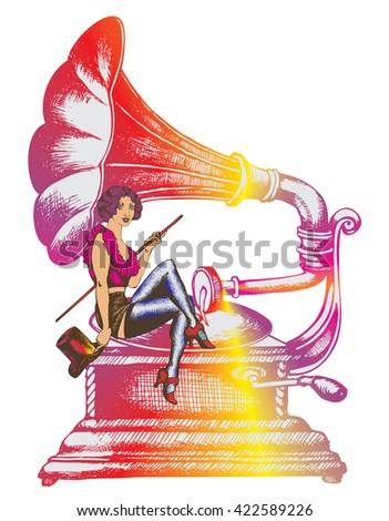 Grammofon and cabaret singer - stock vector