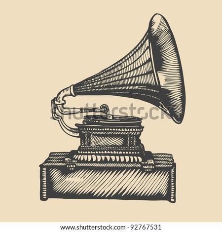 gramophone. hand drawing. engraving style. vector illustration. - stock vector
