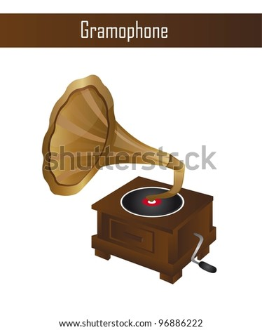 gramophone isolated over white background. vector illustration
