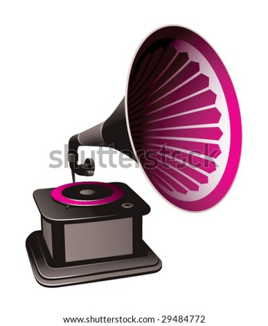 gramophone on a black background - stock vector