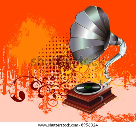 gramophone on grunge background vector - stock vector