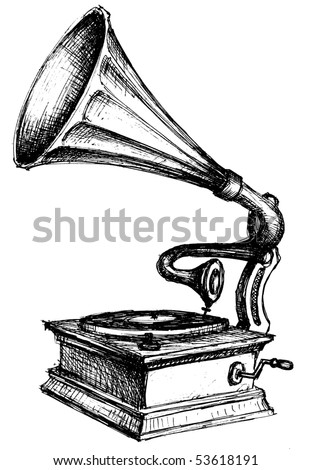 Gramophone sketch - stock vector
