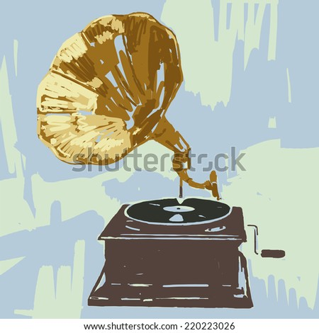 Gramophone vector graphic illustration - stock vector