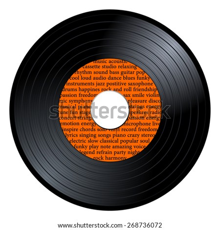 Gramophone vinyl LP record with orange label with musical terms text. Black long play disc 45 rpm. old technology, realistic retro design, vector art image illustration isolated on white background - stock vector