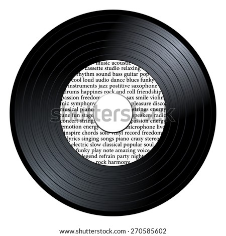 Gramophone vinyl LP record with white label with musical word collage. Black music long play disc 45 rpm. old technology, realistic retro design, vector art image illustration isolated on background