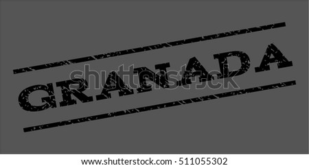 Granada watermark stamp. Text caption between parallel lines with grunge design style. Rubber seal stamp with scratched texture. Vector black color ink imprint on a gray background.