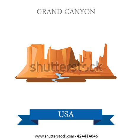 Grand Canyon National Park in Arizona United States. Flat cartoon style historic sight showplace attraction web site vector illustration. World vacation travel sightseeing North America USA collection - stock vector