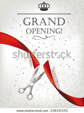 Grand opening card with red ribbon and silver scissors - stock vector