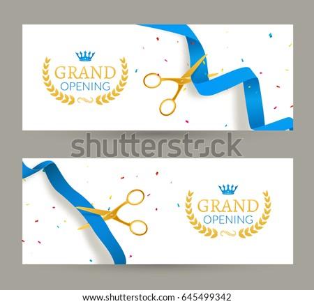 grand opening invitation banner blue ribbonのベクター画像素材
