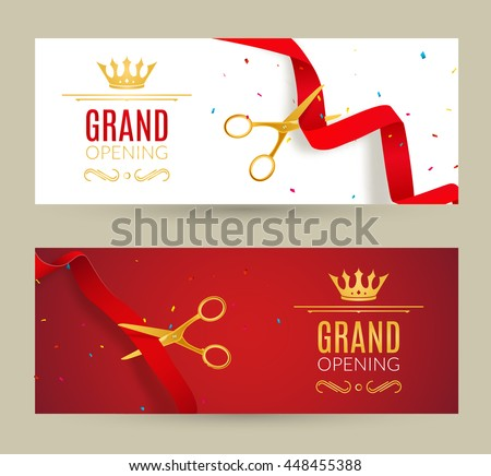 Grand opening invitation banner red ribbon stock photo photo grand opening invitation banner red ribbon cut ceremony event grand opening celebration card stopboris Images