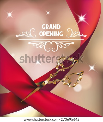 Opening ceremony stock images royalty free images vectors grand opening invitation card with silk red ribbon and scissors stopboris Choice Image