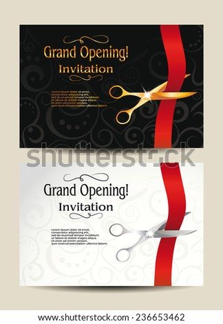 Grand opening invitation cards  - stock vector