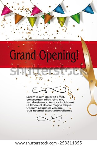 Grand opening invitation cards decorations red stock vector grand opening invitation cards with decorations and red ribbon stopboris Choice Image
