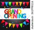 Grand Opening Retro Colorful Vector Title with Colorful Flags and Confetti - stock photo