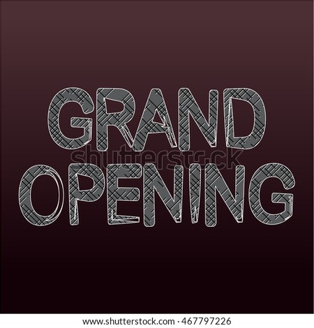 Grand Opening text with dark background - vector