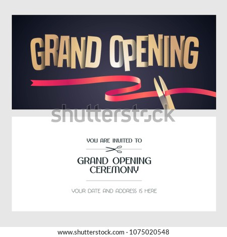 Grand opening vector banner illustration invitation stock vector grand opening vector banner illustration invitation card with red ribbon and scissors template stopboris Image collections