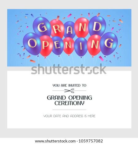 Grand opening vector illustration invitation card stock vector grand opening vector illustration invitation card for new store template banner design element stopboris Choice Image