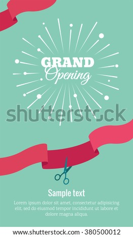 Grand opening vertical banner. Text with  firework and ribbons. Flat style. Vector Illustration. Eps 8 - stock vector