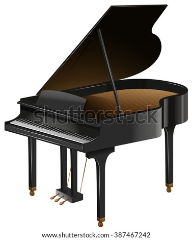 Grand piano with the top opened illustration