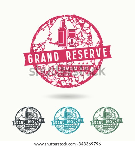 Grand reserve wine label with circular texture cork - stock vector