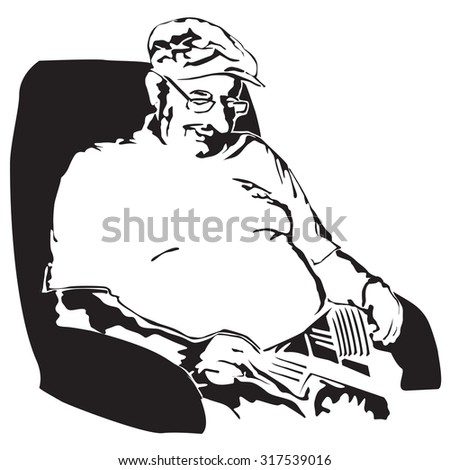 Grandfather taking a nap after lunch - vector illustration