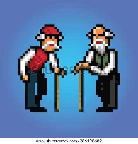 grandfather talking pixel art style illustration - stock vector